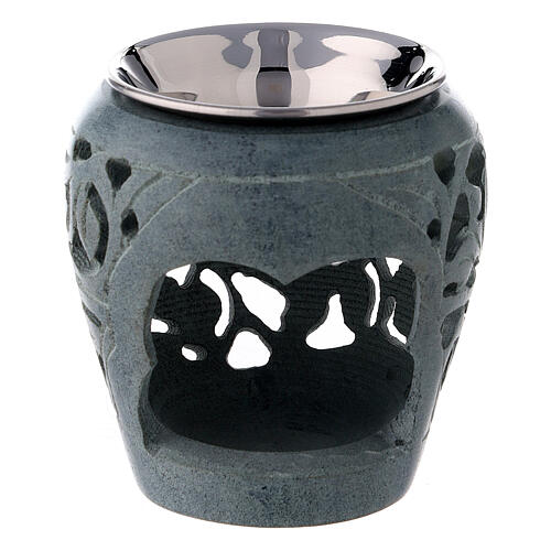 Dark soapstone incense burner with cut-outs 3 in 1