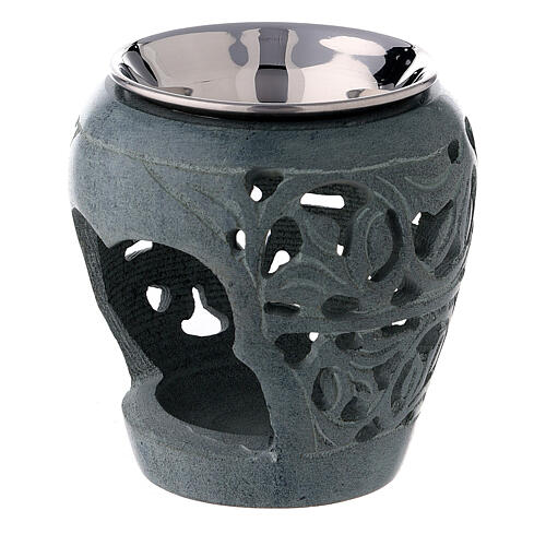 Dark soapstone incense burner with cut-outs 3 in 2