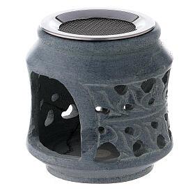 Pebetero motivos dobles esteatita negra 8 cm s2