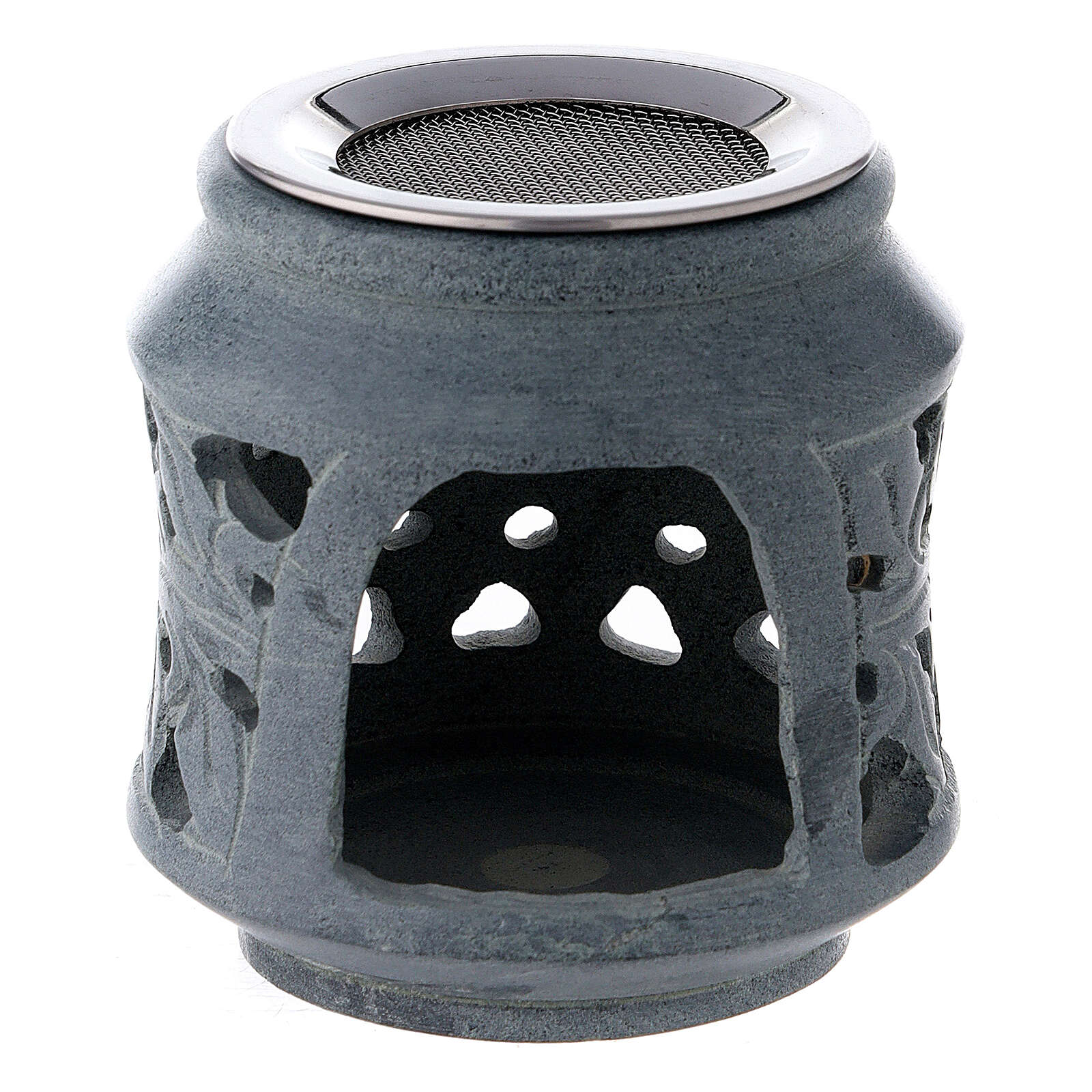Black soapstone incense burner with double decoration 3 in 3