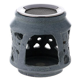 Black soapstone incense burner with double decoration 3 in s1
