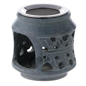 Black soapstone incense burner with double decoration 3 in s2