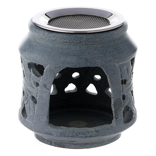 Black soapstone incense burner with double decoration 3 in 1