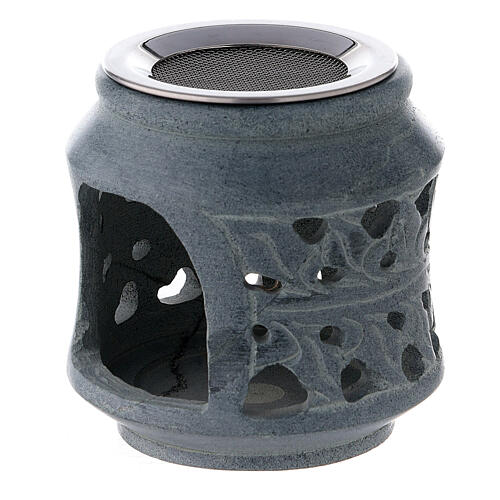 Black soapstone incense burner with double decoration 3 in 2