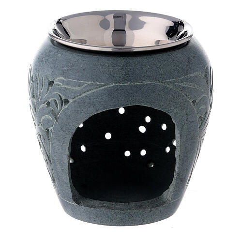 Black soapstone incense burner with engraved leaves 8 cm 1