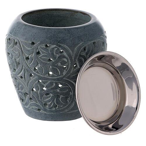Black soapstone incense burner with engraved leaves 8 cm 3