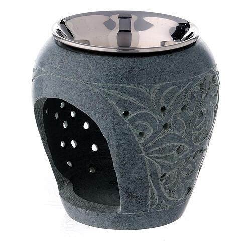 Queimador de incenso pedra-sabão preta folhas gravadas 8 cm 2
