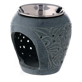 Black soapstone incense burner engraved leaves 3 in s2