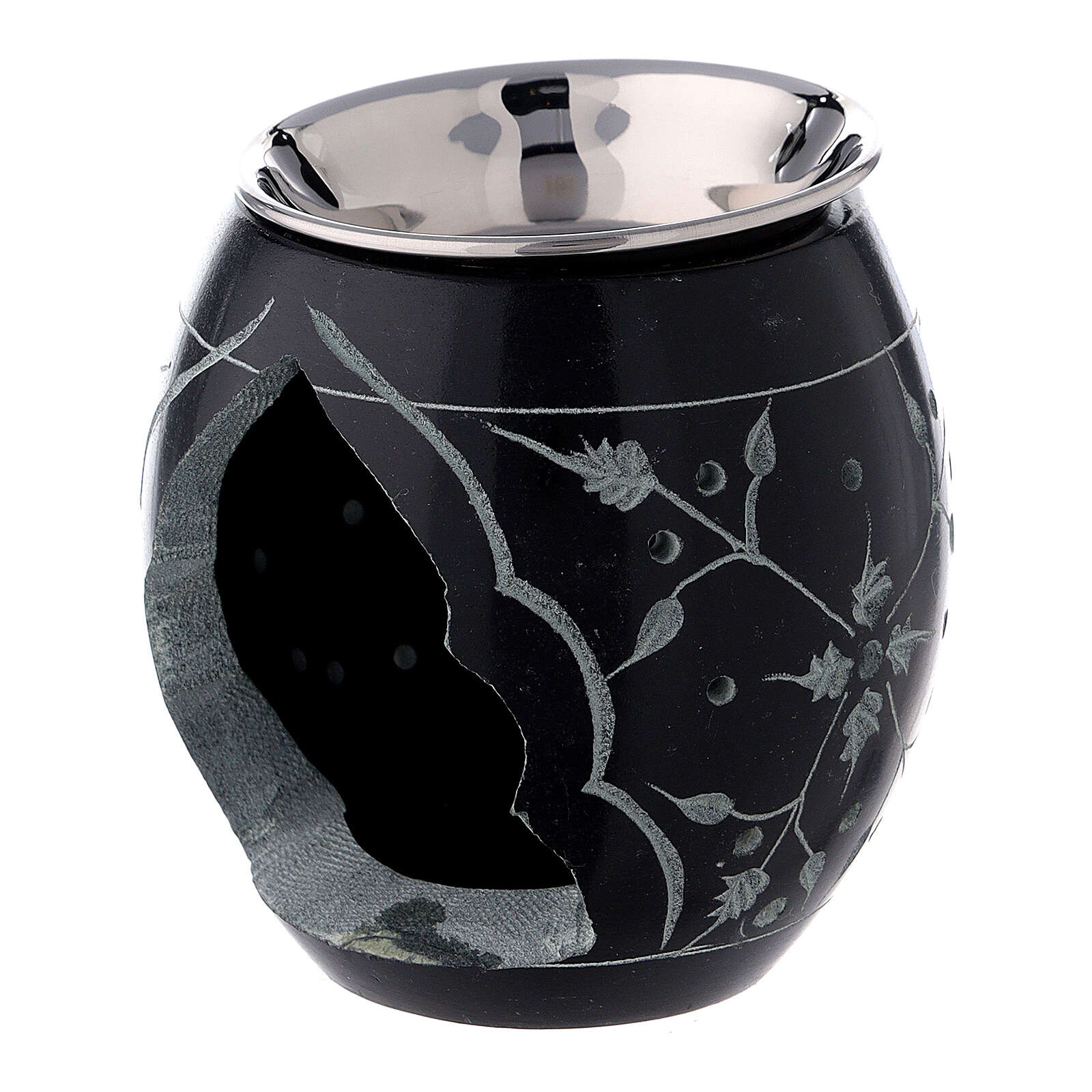 Black soapstone incense burner with engraved flowers 3 in 3