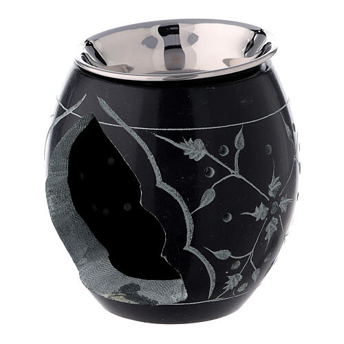 Black soapstone incense burner with engraved flowers 3 in 2
