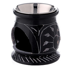 Black soapstone incense burner with spiral branches 3 in s2