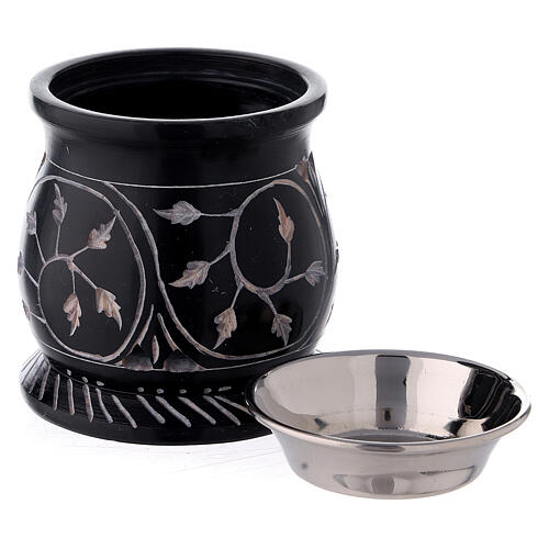 Black soapstone incense burner with spiral branches 3 in 3