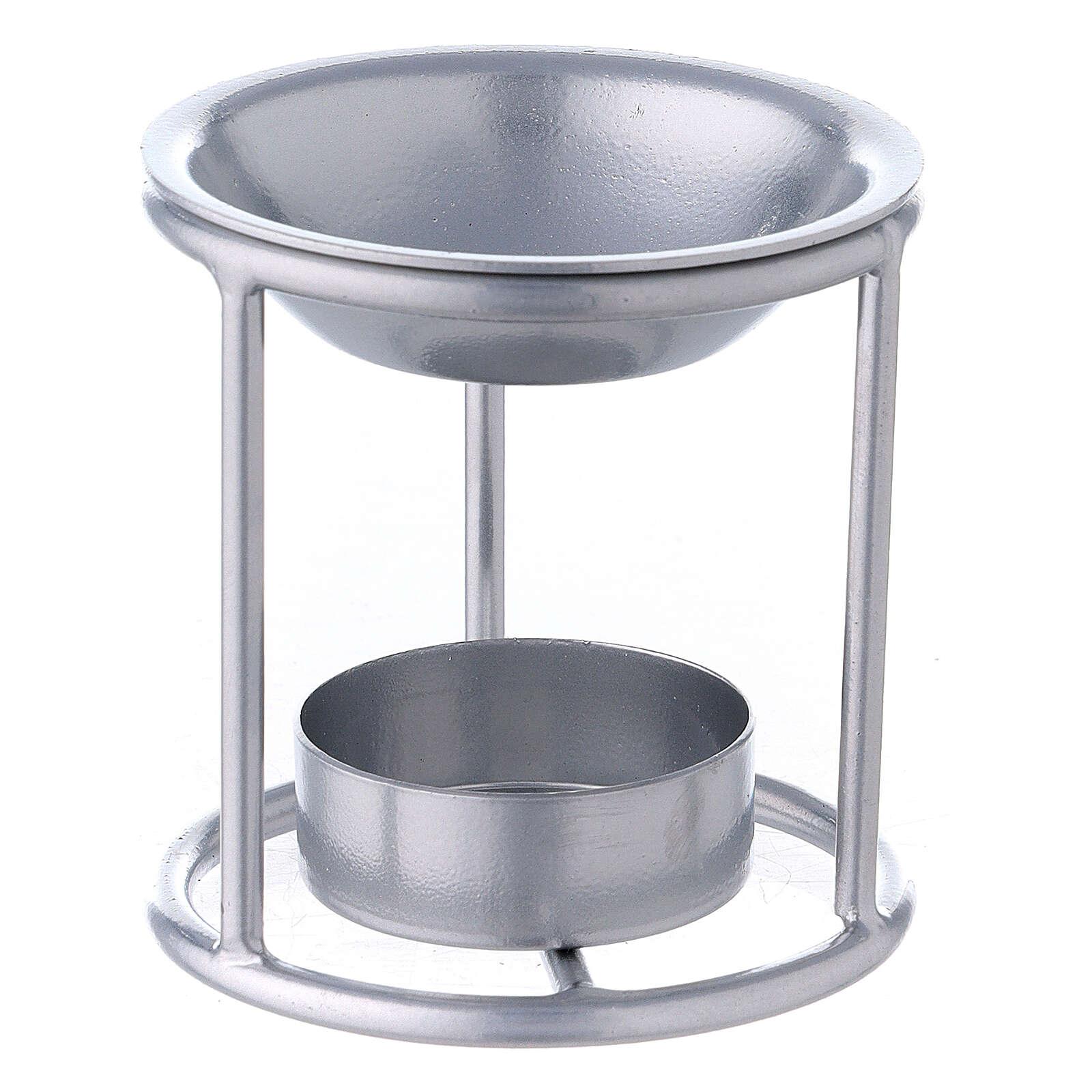 Pebetero estructura recta hierro color plata 7 cm 3