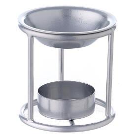 Pebetero estructura recta hierro color plata 7 cm s1