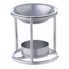 Pebetero estructura recta hierro color plata 7 cm s2