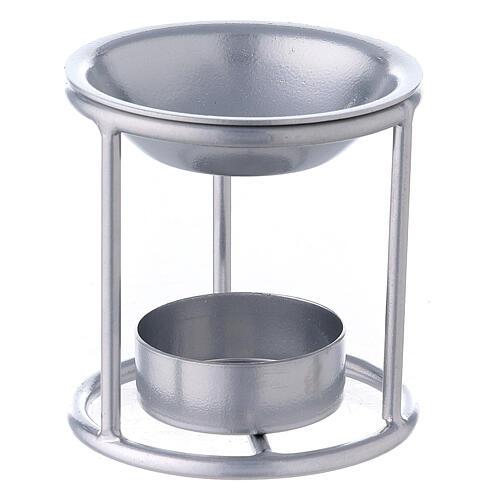 Pebetero estructura recta hierro color plata 7 cm 1
