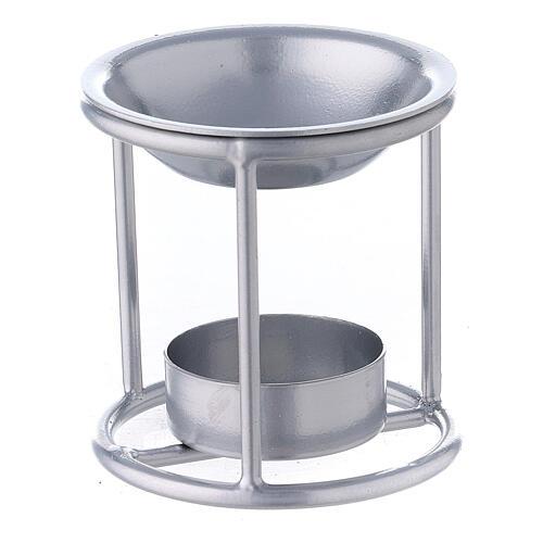 Pebetero estructura recta hierro color plata 7 cm 2