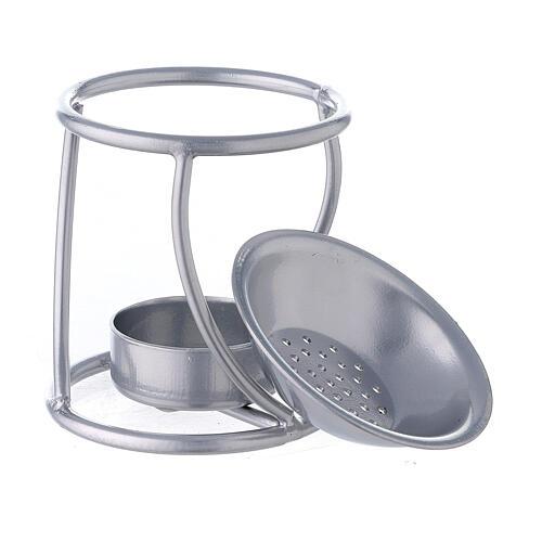 Pebetero vela hierro plata estructura curva 3