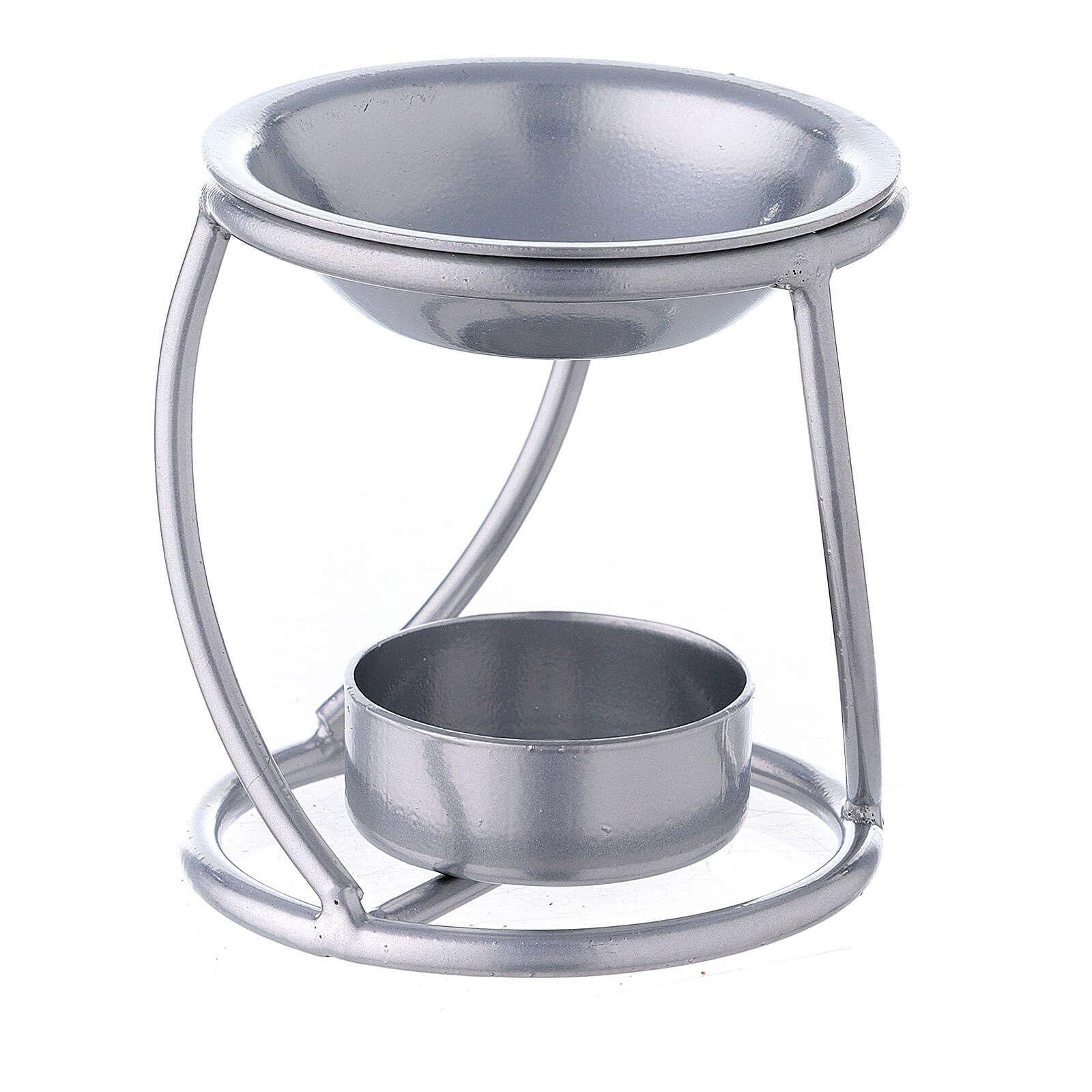 Bruciaincenso candelina ferro argento supporto curvo 3