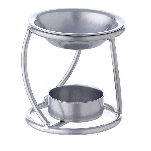 Bruciaincenso candelina ferro argento supporto curvo 1