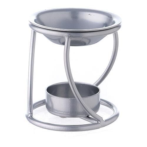 Bruciaincenso candelina ferro argento supporto curvo 2