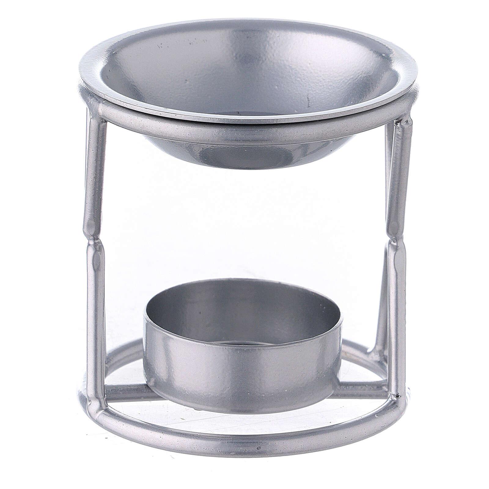 Brûle-encens bougie chauffe-plat support X fer argenté 3