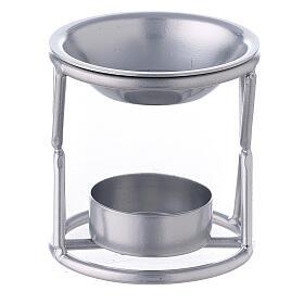 Brûle-encens bougie chauffe-plat support X fer argenté s1