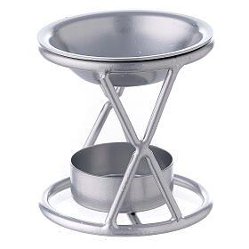 Brûle-encens bougie chauffe-plat support X fer argenté s2