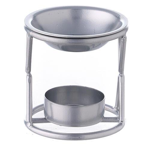Brûle-encens bougie chauffe-plat support X fer argenté 1
