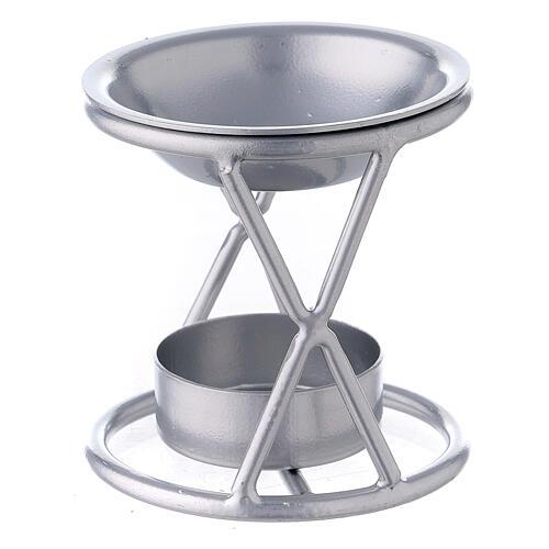 Brûle-encens bougie chauffe-plat support X fer argenté 2