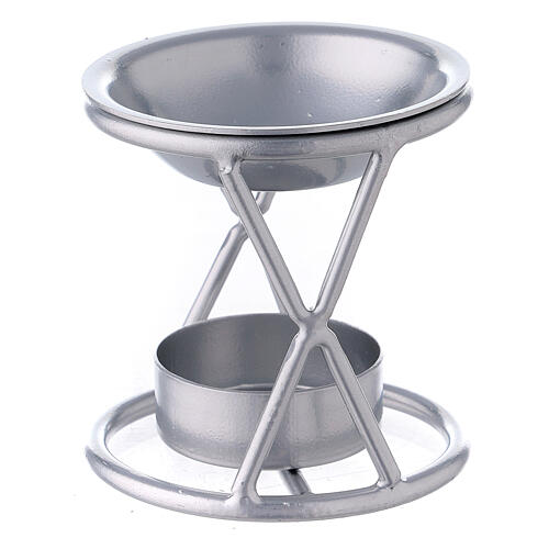 Bruciaincenso tealight supporto X ferro argento 2