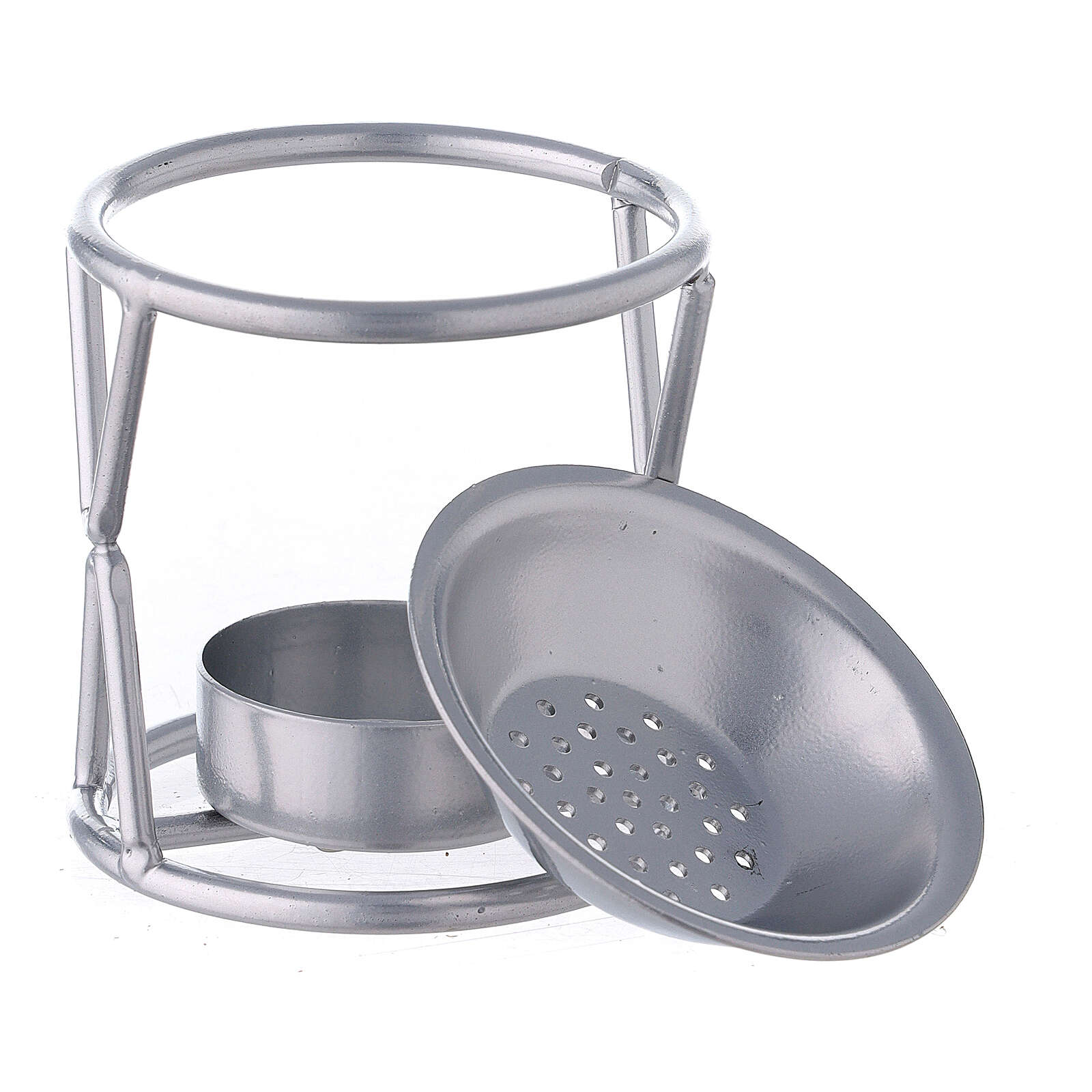 Candle incense burner X-shaped support in silver metal 3
