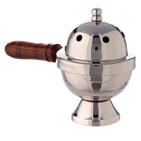 Oval incense burner nickel-plated brass and wood handle 15 cm s2