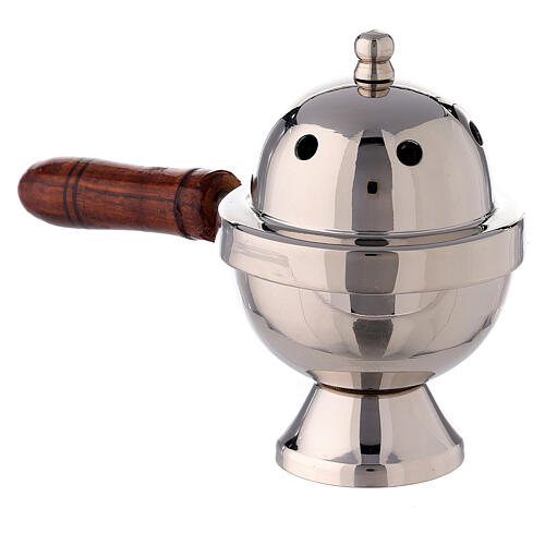Oval incense burner nickel-plated brass and wood handle 15 cm 2