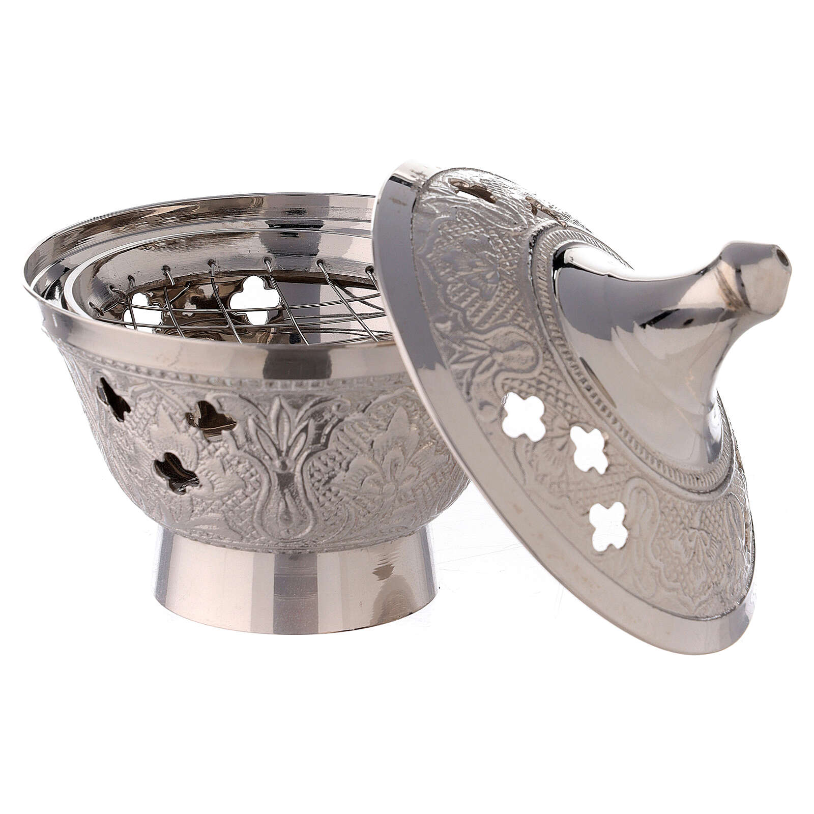 Nickel-plated brass incense burner with engraved decorations 4 in 3