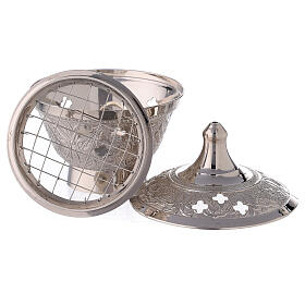 Nickel-plated brass incense burner with engraved decorations 4 in s3