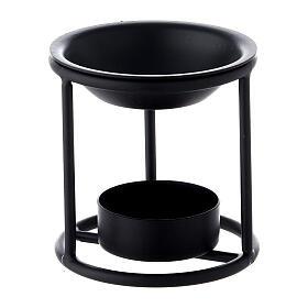 Black metal candle incense burner 2 3/4 in s1