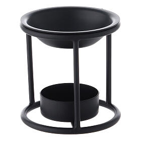 Black metal candle incense burner 2 3/4 in s2