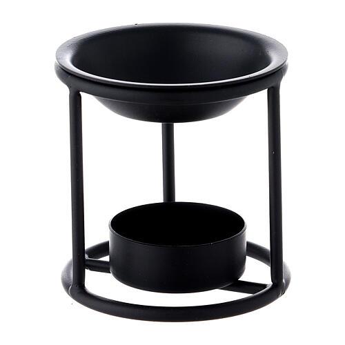 Black metal candle incense burner 2 3/4 in 1