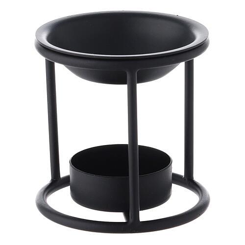 Black metal candle incense burner 2 3/4 in 2