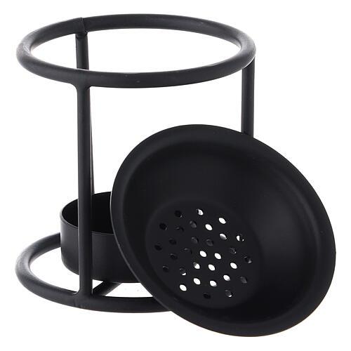 Black metal candle incense burner 2 3/4 in 3