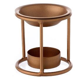 Pebetero estructura recta hierro color oro vela s2