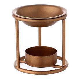 Bruciaincenso supporto dritto ferro color oro candelina s1