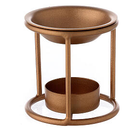 Bruciaincenso supporto dritto ferro color oro candelina s2