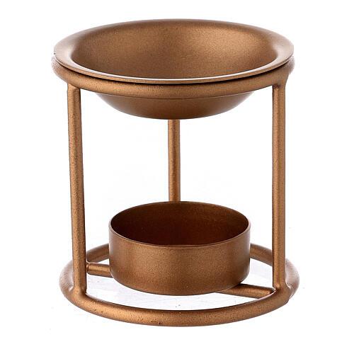 Bruciaincenso supporto dritto ferro color oro candelina 1