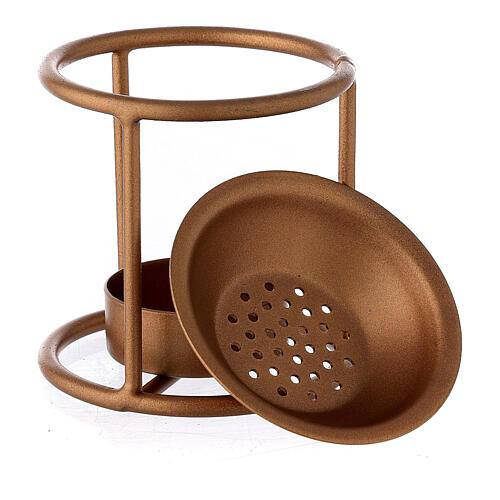 Bruciaincenso supporto dritto ferro color oro candelina 3