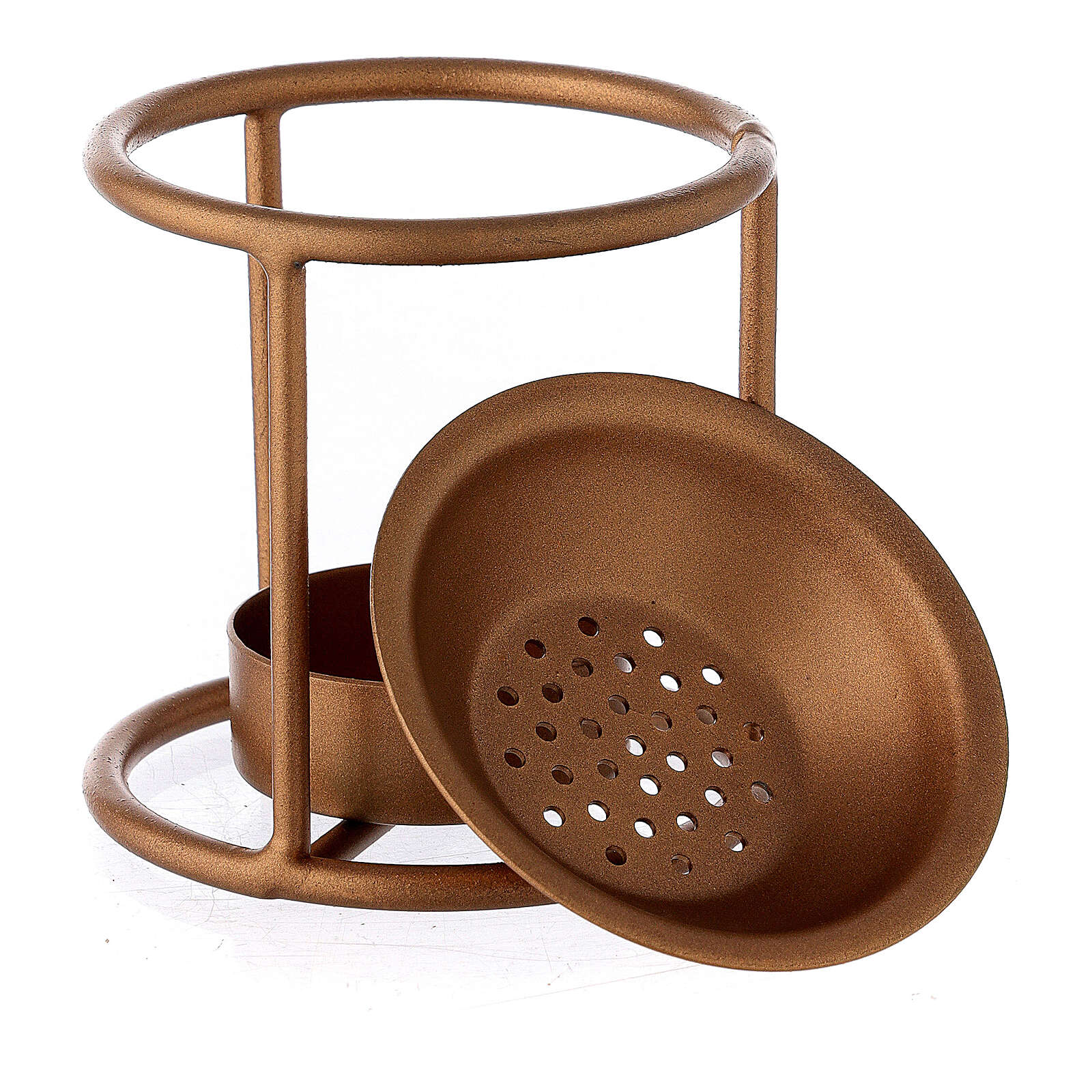Candle incense burner with straight structure gold painted metal 3