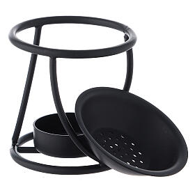 Pebetero hierro negro espiral vela 7 cm s3