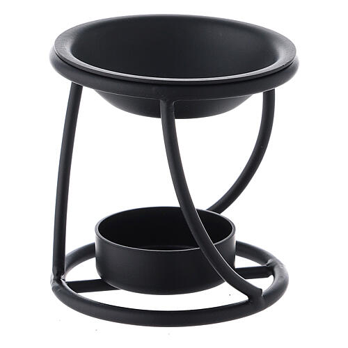 Pebetero hierro negro espiral vela 7 cm 2