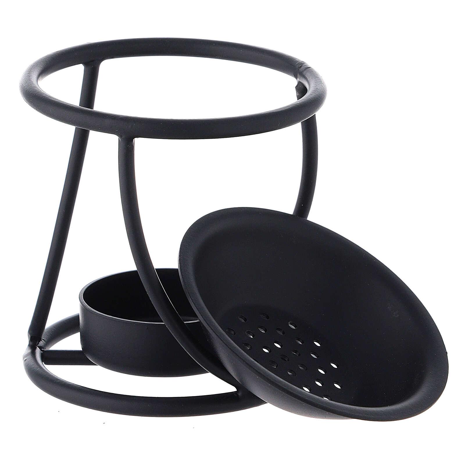 Brûle-encens métal noir spirale bougie 7 cm 3
